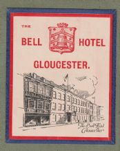 Collectible Hotel luggage label England Bell Hotel Gloucester #654